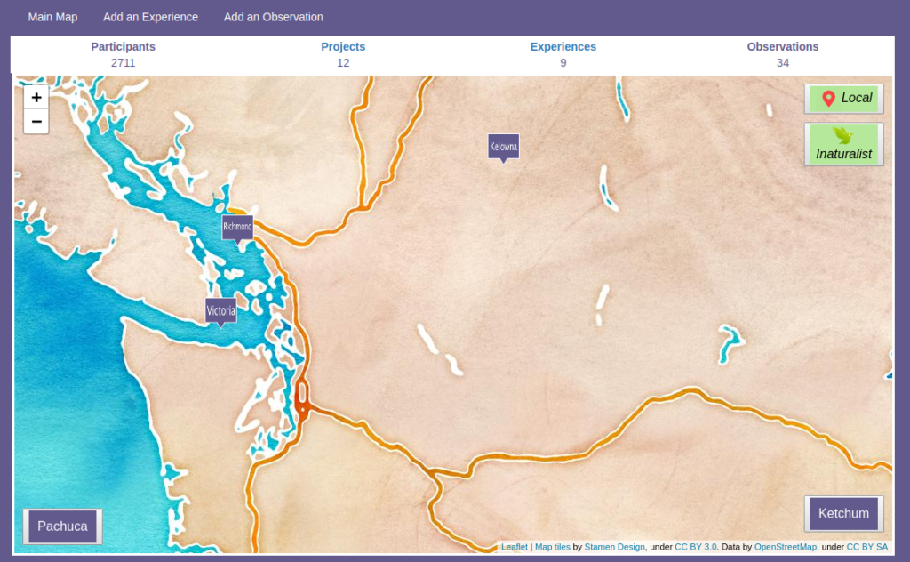 Screenshot of the interactive map welcome screen
